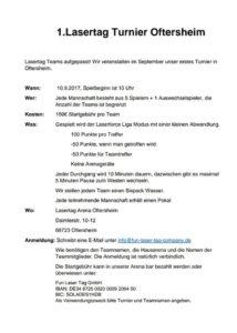 Lasertag Oftersheim erstes Turnier